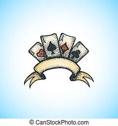 ilustracja, barwny, bilety, interpretacja, handdrawn