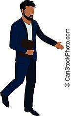 ilustracja, biznesmen, isometric