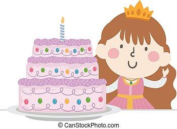 ilustracja, ciastko, księżna, dziewczyna, koźlę