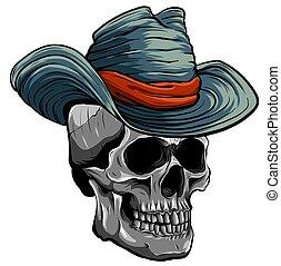 ilustracja, czaszka, wektor, kapelusz kowboja