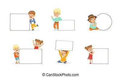 ilustracja, czysty, wektor, dzierżawa, dziewczyny, opróżniać, chorągwie, mały, chłopcy, dzieciaki, komplet, whiteboards, sprytny, rysunek