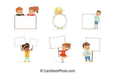 ilustracja, czysty, wektor, dzierżawa, dziewczyny, opróżniać, chorągwie, signboards, mały, chłopcy, dzieciaki, komplet, sprytny, rysunek