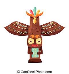 ilustracja, drewniany, wektor, indianin, totem, skrzydełka, symbol, thunderbird, etniczny