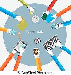ilustracja, drużyna, wektor, praca, pojęcie, płaski