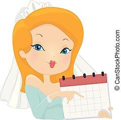 ilustracja, dzień, kalendarz, ślub, dziewczyna, wypadek