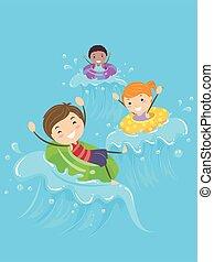 ilustracja, dzieciaki, stickman, kałuża, fale, pływak