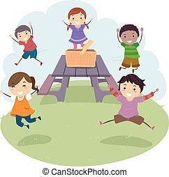 ilustracja, dzieciaki, stickman, piknik stół, skok
