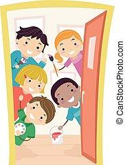 ilustracja, dzieciaki, sztuka klasa, stickman, drzwi
