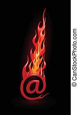 ilustracja, e-poczta, wektor, gorący