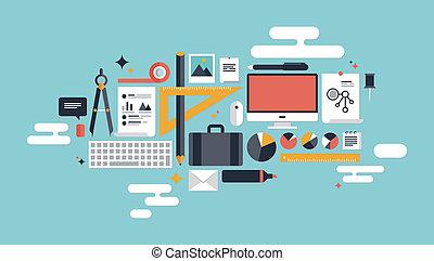 ilustracja, elementy, handlowy, pracujący