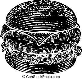ilustracja, hamburger, hamburger, drzeworyt, rocznik wina