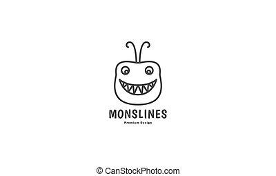 ilustracja, ikona, graficzny, sprytny, kreska, rysunek, szczęśliwy, logo, projektować, wektor, potwór, głowa, symbol