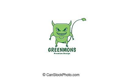 ilustracja, ikona, ogon, graficzny, zielony, sprytny, rysunek, logo, projektować, wektor, potwór, symbol