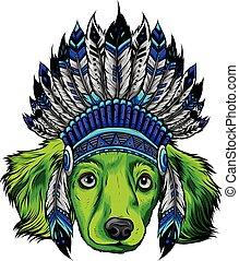 ilustracja, indianin, tradycyjny, głowa, kapelusz, wektor, pies