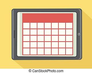 ilustracja, kalendarz, palcowa pastylka