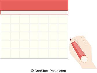 ilustracja, kalendarz, ręka, czysty