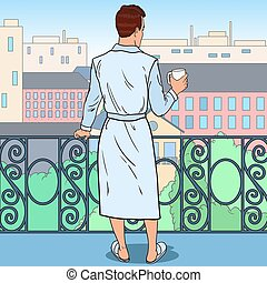ilustracja, kawa, city., hukiem, rano, wektor, balcony., sztuka, picie, człowiek