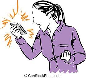 ilustracja, kobieta, telefon, wyjąc