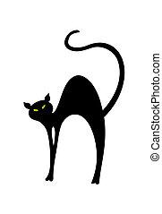 ilustracja, kot, back., wektor, czarnoskóry, łukowaty, ma