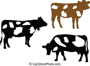 ilustracja, krowa
