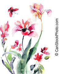 ilustracja, kwiaty, akwarela, stylizowany