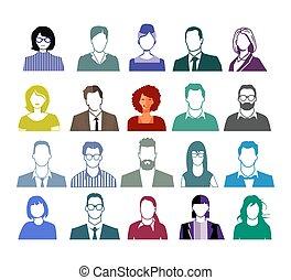 ilustracja, ludzie, portret, komplet, twarze