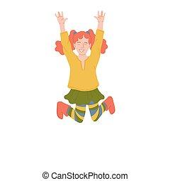 ilustracja, mały, sprytny, isolated., skokowy, szczęśliwy, radość, dziewczyna, wektor, imbir, płaski