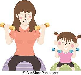 ilustracja, mamusia, piłka, ruch, dumbbells, dziewczyna, koźlę