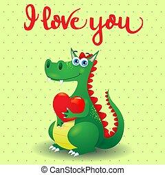 ilustracja, miłość, valentine, card., wiadomość, smok, serce, wektor, eps10