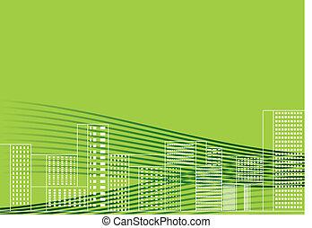 ilustracja, miasto, wektor, zielony