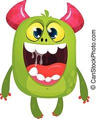 ilustracja, monster., halloween, potwór, wektor, zielony, futrzany, rysunek, podniecony