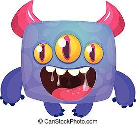 ilustracja, monster., halloween, wektor, zabawny, rysunek, podniecony, śmiech