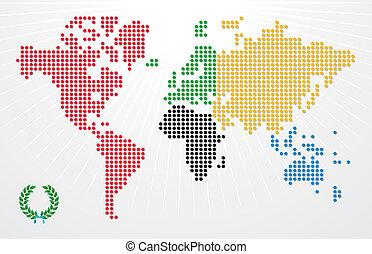 ilustracja, olimpiady, światowe igrzyska, mapa