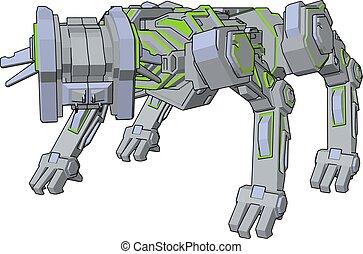 ilustracja, pies, tło., robot, wektor, zieleń biała