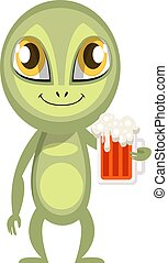 ilustracja, piwo, cudzoziemiec, tło., wektor, biały