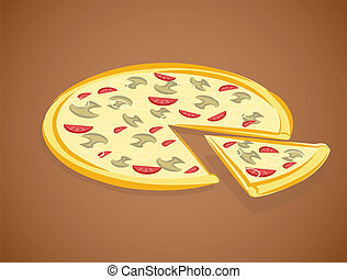 ilustracja, pizza, wektor