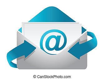 ilustracja, pojęcie, e-poczta, projektować