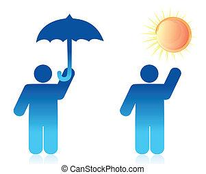 ilustracja, pojęcie, pogoda, projektować