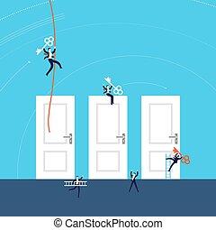 ilustracja, pojęcie, powodzenie, handlowy, drzwi