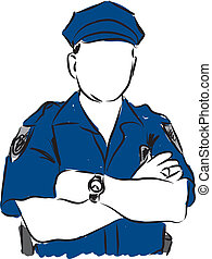 ilustracja, policjant
