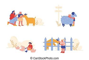 ilustracja, przebyć, sheep, gospodarka, litery, dzieciaki, troska, parents., ludzie, dziewczyna, krajowy, mały, wektor, zwierzęta, króliki, rysunek, dzieci, chłopiec, goat., weekend., petting, czas, macierz, wizyta