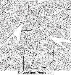ilustracja, roads., układ, miasto, map., wektor