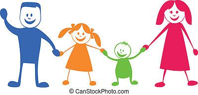ilustracja, rysunek, family., szczęśliwy