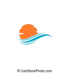 ilustracja, słońce, fale, logo, ikona, wektor