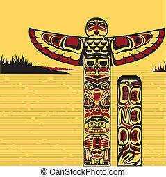 ilustracja, słup, północno-amerykański, totem