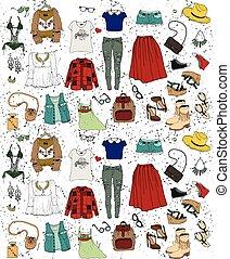 ilustracja, set., odzież, fason