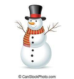 ilustracja, snowman., wektor, boże narodzenie