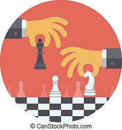 ilustracja, strategia, płaski, pojęcie