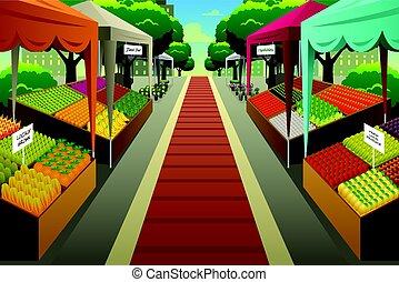 ilustracja, tło, farmerki robią zakupy