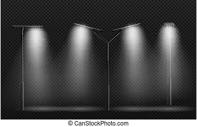 ilustracja, uliczne światło, lampa, leds.vector, post., używany